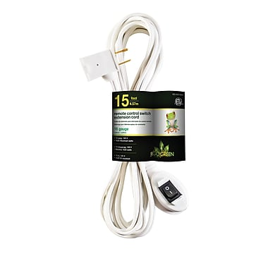 GoGreen Power Remote Control Switch Extension Cord, White - GG-24215WH
