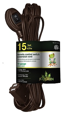 GoGreen Power Remote Control Switch Extension Cord, Brown - GG-24215BN