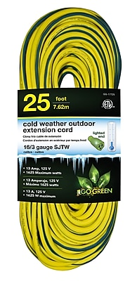 GoGreen Power 16/3 25' Heavy Duty Cold Weather Extension, Lighted End, Yellow, GG-17725