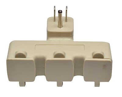 GoGreen Power 3 Outlet Tri Tap Adapter with Covers, Beige - GG-03431BE