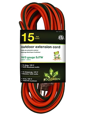 GoGreen Power 16/3 15' Heavy Duty Extension Cord - Lighted End, Orange - GG-13715