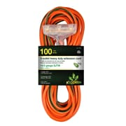 GoGreen Power 14/3 100' 3-Outlet Heavy Duty Extension Cord, Lighted End - Orange, GG-15100