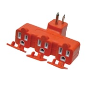 GoGreen Power 3 Outlet Tri Tap Adapter with Covers, Orange - GG-03431OR