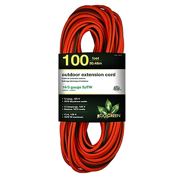 GoGreen Power 14/3 100' Heavy Duty Extension Cord - Lighted End, Orange - GG-13800