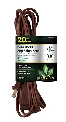GoGreen Power 16/2 20' Household Extension Cord 3pk, Brown - GG-24820
