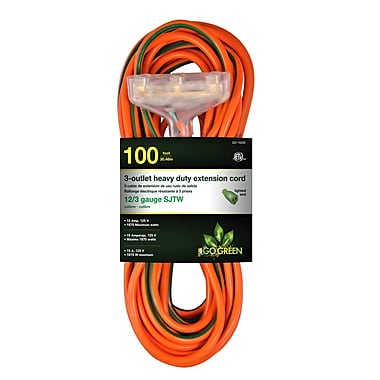 GoGreen Power 12/3 100' 3-Outlet Heavy Duty Extension Cord, Lighted End - Orange, GG-15200