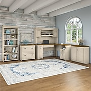 Bush Furniture Fairview 60W L Shaped Desk with Hutch, Storage Cabinets and 5 Shelf Bookcase, Antique White/Tea Maple (FV013AW)
