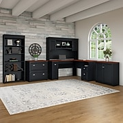 Bush Furniture Fairview 60W L Shaped Desk with Hutch, Storage Cabinets and 5 Shelf Bookcase, Antique Black (FV013AB)