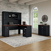Bush Furniture Fairview 60W L Shaped Desk with Hutch and Small Storage Cabinet, Antique Black/Hansen Cherry (FV012AB)