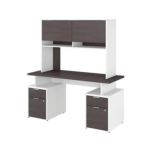 Bush Business Furniture Jamestown 60 W Computer Desk With 4 Drawers And Hutch Storm Gray White Jtn018sgwhsu