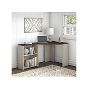 "Bush Furniture Townhill 34"" Corner Desk with Bookcase, Washed Gray/Madison Cherry (TNH002WM2)"