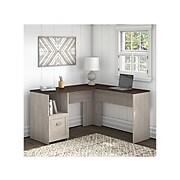 "Bush Furniture Townhill 54"" L-Shaped Desk, Washed Gray/Madison Cherry (TND154WM2-03)"