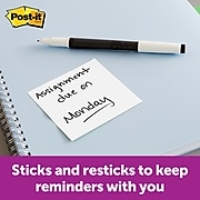 """Post-it® Super Sticky Notes, 3"""" x 3"""", White, 90 Sheets/Pad, 5 Pads/Pack (654-5SSW)"""
