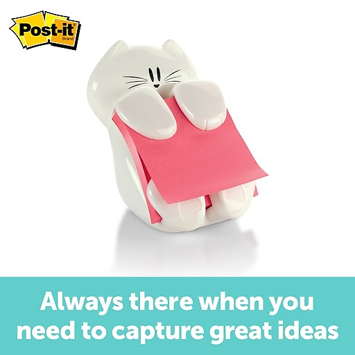 "Post-it® Cat Pop-Up Dispenser for 3"" x 3"" Notes, White (CAT-330)"