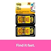 """Post-it® 'Sign Here' Message Flags, 1"""" Wide, Yellow, 100 Flags/Pack (680-SH2)"""