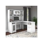 "Bush Furniture Cabot 60"" L-Shaped Computer Desk with Hutch, White (CAB001WHN)"