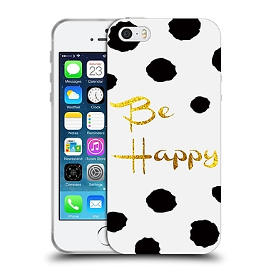 Official Haroulita Black And Gold Be Happy Soft Gel Case For Apple Iphone 5 / 5S / Se