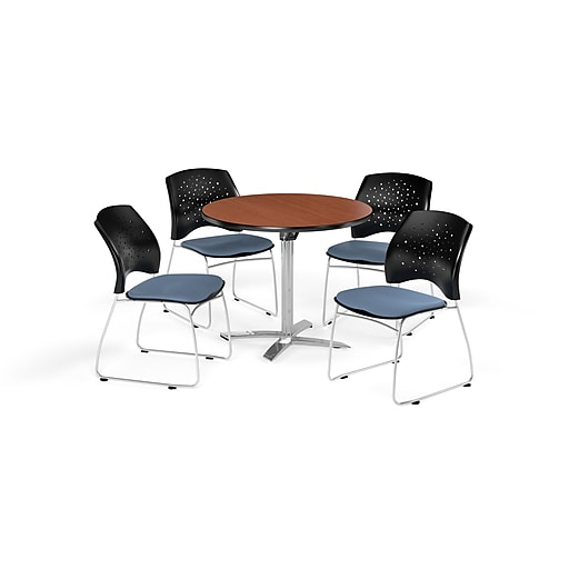 "OFM 42"" Round Flip Top Cherry Table with Four Cornflower Blue Chairs (PKG-BRK-166-0006)"