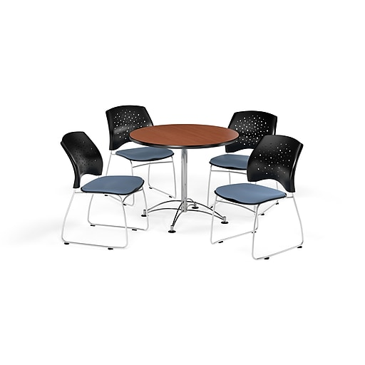 "OFM 36"" Round Multi-Purpose Cherry Table with Four Cornflower Blue Chairs (PKG-BRK-167-0006)"