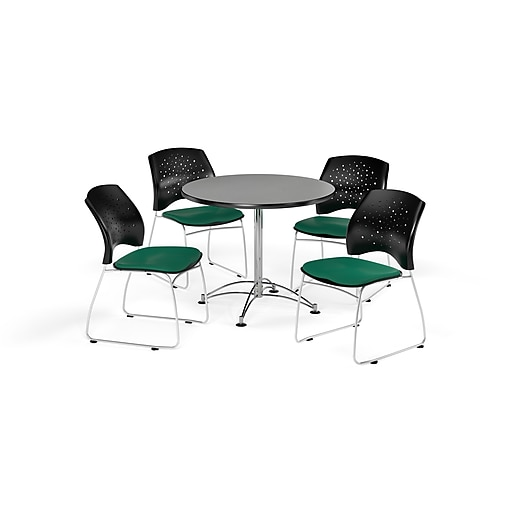 """OFM 36"""" Round Multi-Purpose Gray Nebula Table with Four Shamrock Green Chairs (PKG-BRK-167-0017)"""