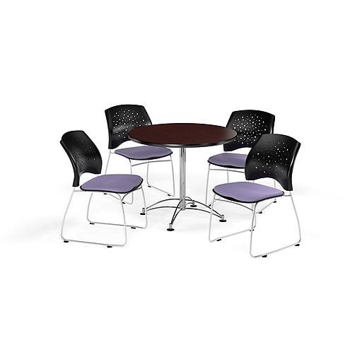 "OFM 36"" Round Multi-Purpose Mahogany Table with Four Lavender Chairs (PKG-BRK-167-0034)"