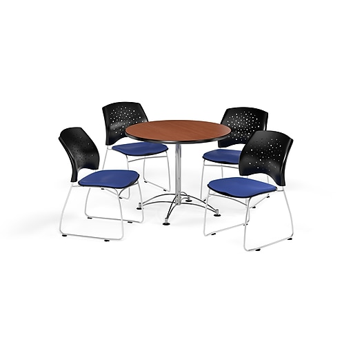 "OFM 36"" Round Multi-Purpose Cherry Table with Four Royal Blue Chairs (PKG-BRK-167-0010)"