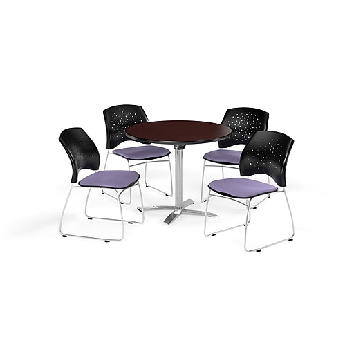 """OFM 42"""" Round Flip Top Mahogany Table with Four Lavender Chairs (PKG-BRK-166-0034)"""