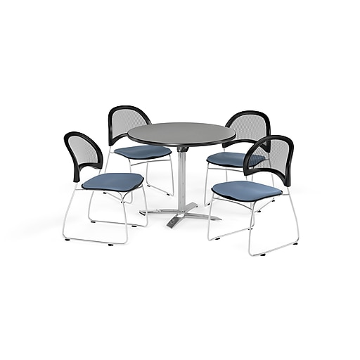 """OFM 42"""" Round Flip Top Gray Nebula Table with Four Cornflower Blue Chairs (PKG-BRK-171-0022)"""
