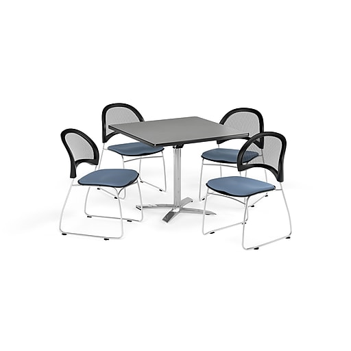 "OFM 42"" Square Flip Top Gray Nebula Table with Four Cornflower Blue Chairs (PKG-BRK-172-0022)"