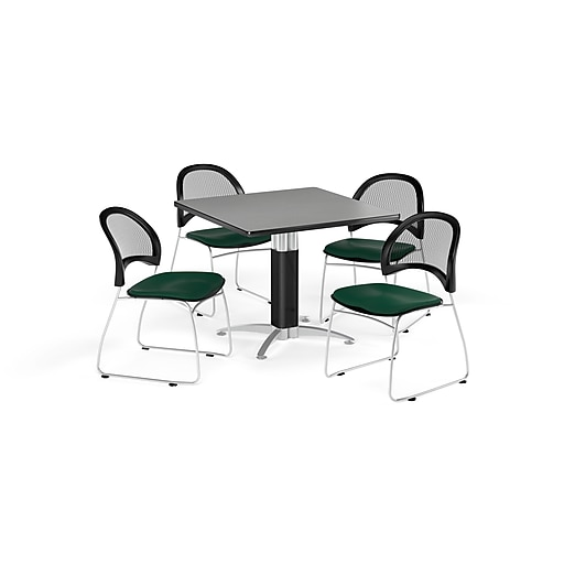 """OFM 36"""" Square Mesh Base Gray Nebula Table with Four Forest Green Chairs (PKG-BRK-174-0031)"""