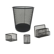 Mind Reader 4 PC Mesh Desk Organizer Set with Trash Can, Black, (4MGDORG-BLK)