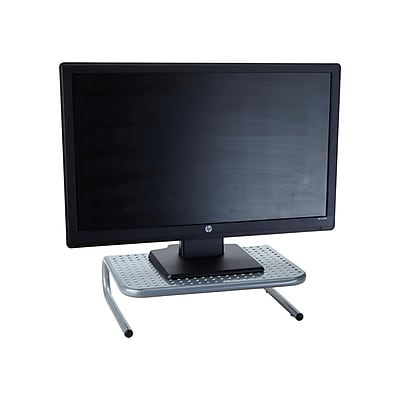 Mind Reader Metal Monitor Stand with Keyboard Storage Space, Silver, (METMONST-SIL)