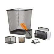 Mind Reader 6 PC Mesh Desk Organizer Set with Trash Can, Black, (6MGDORG-BLK)