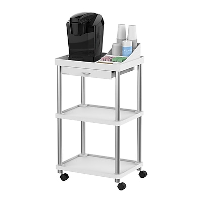 Mind Reader 'Valet' 3 Tier Rolling Coffee Cart, Organizer included, White (CARTCOFF-WHT)