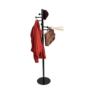 Mind Reader Free Standing 7 Hook Metal Coat and Hat Rack, Black, (SLEEKCR-BLK)