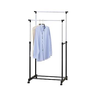 Mind Reader Adjustable Metal Double Garment Rack with Wheels, Silver/Black, (GRACKDBL-SIL)
