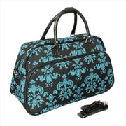 All-Seasons 21 in. Damask Carry-On Shoulder Tote Duffel Bag, Black & Blue (ECWE066)