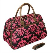All-Seasons 21 in. Damask Carry-On Shoulder Tote Duffel Bag, Brown & Pink (ECWE065)
