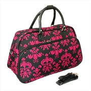 All-Seasons 21 in. Damask Carry-On Shoulder Tote Duffel Bag, Black & Pink (ECWE064)