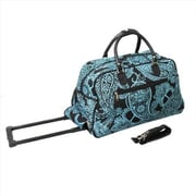 All-Seasons 21 in. Designer Prints Bandana Carry-On Rolling Duffel Bag, Black & Blue (ECWE027)