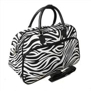 All-Seasons 21 in. Zebra Carry-On Shoulder Tote Duffel Bag, Black (ECWE043)