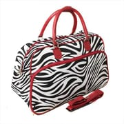 All-Seasons 21 in. Zebra Carry-On Shoulder Tote Duffel Bag, Red (ECWE044)