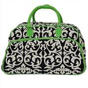 All-Seasons 21 in. Designer Prints Damask Carry-On Rolling Duffel Bag, Green (ECWE019)