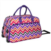 All-Seasons 21 in. ZigZag Collection Carry-On Rolling Duffel Bag, Purple Trim (ECWE015)