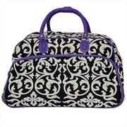 All-Seasons 21 in. Designer Prints Damask Carry-On Rolling Duffel Bag, Purple (ECWE018)