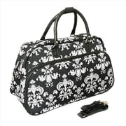 All-Seasons 21 in. Damask Carry-On Shoulder Tote Duffel Bag, Black & White (ECWE063)