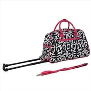 All-Seasons 21 in. Vacation Deluxe Carry-On Rolling Duffel Bag, Pink Damask (ECWE005)