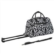 All-Seasons 21 in. Vacation Deluxe Carry-On Rolling Duffel Bag, Black Damask (ECWE004)