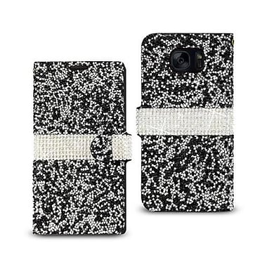 Reiko Samsung Galaxy S7 Jewelry Rhinestone Wallet Case, Black (RKWL11892)