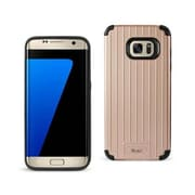 Reiko Samsung Galaxy S7 Edge Rugged Metal Texture Hybrid Case with Ridged Back, Black & Rose Gold (RKWL12432)